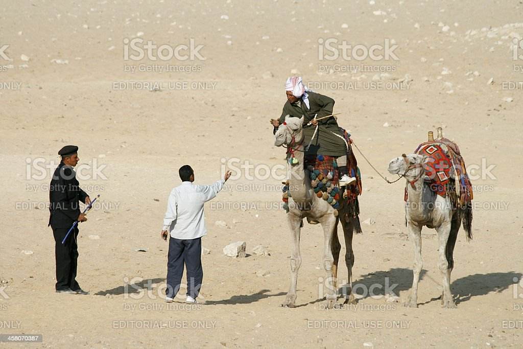 Altercation at Giza complex in Cairo, Egypt royalty-free stock photo