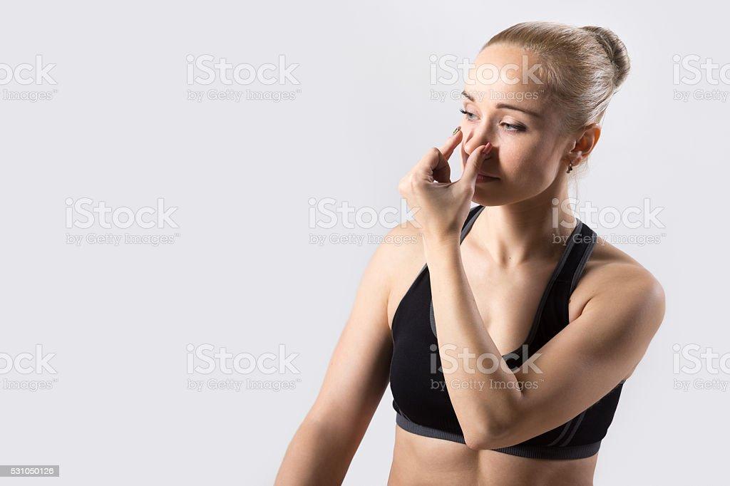 Alternate Nostril Breathing stock photo