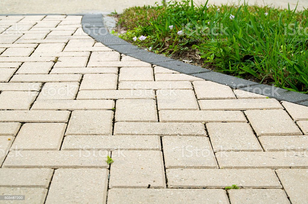 alternating rectangular pavers stock photo