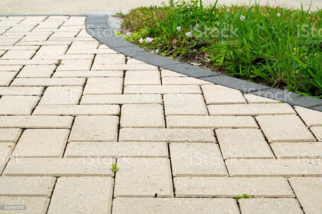 alternating rectangular pavers stock photo
