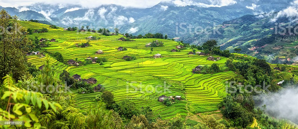 Alternating small village on a hill terraced stock photo