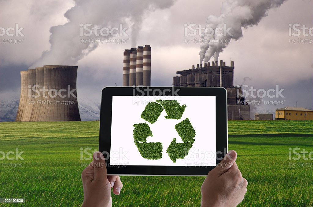 Alternative energy and recycling concept stock photo