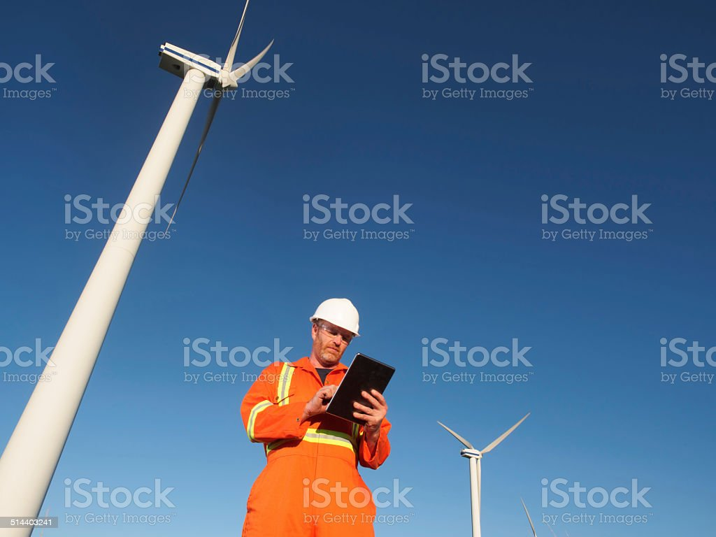 Alternative Energy and Tablet Computer stock photo