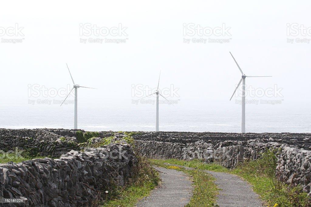 Alternative energy by the sea stock photo