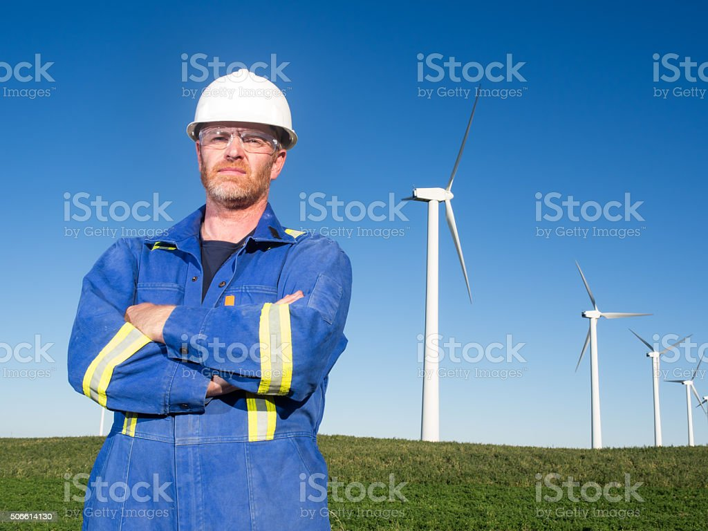 Alternative  Energy Engineer and Wind Turbine stock photo