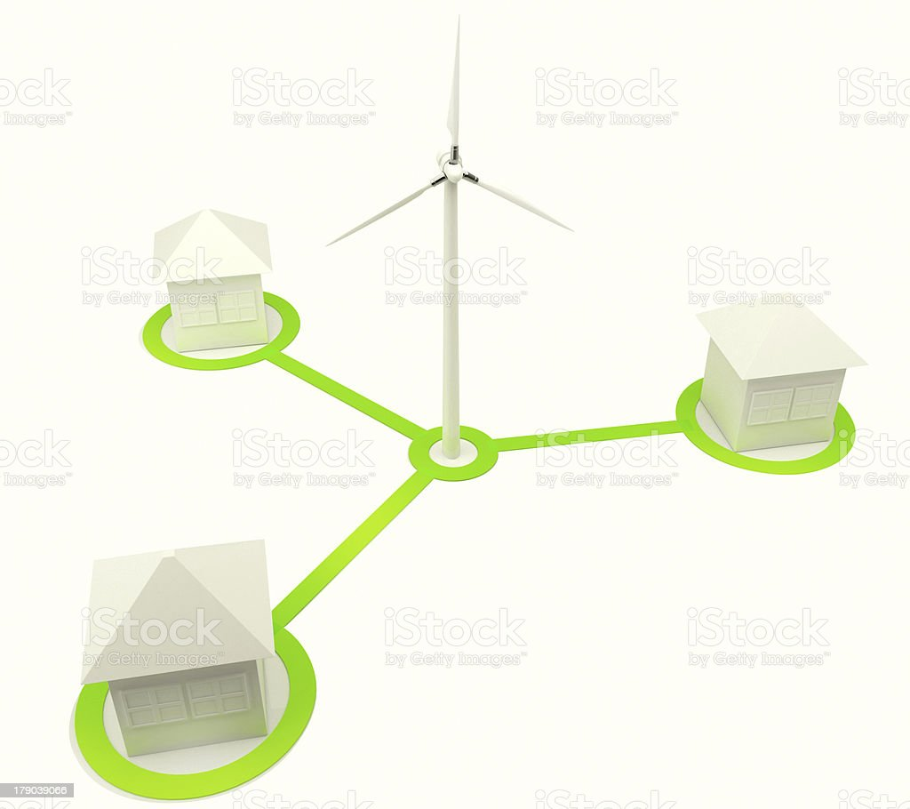 Alternative energy house with wind turbine royalty-free stock photo