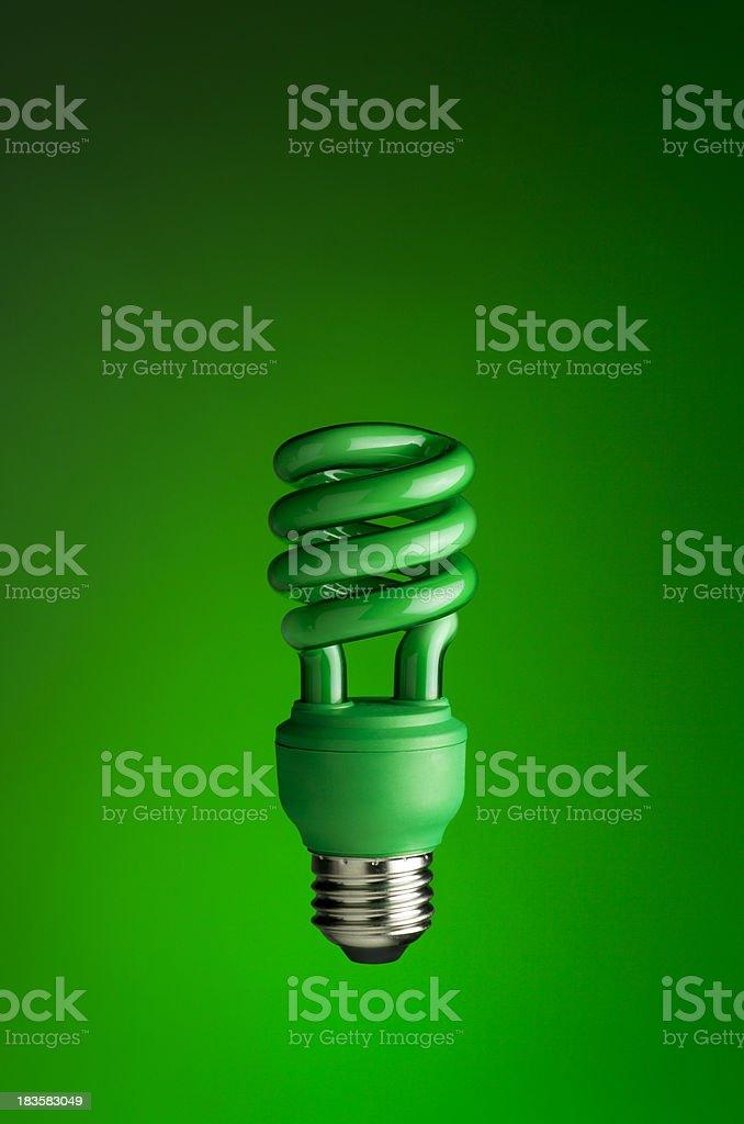 Alternative Energy Lightbulb on a Green Background stock photo