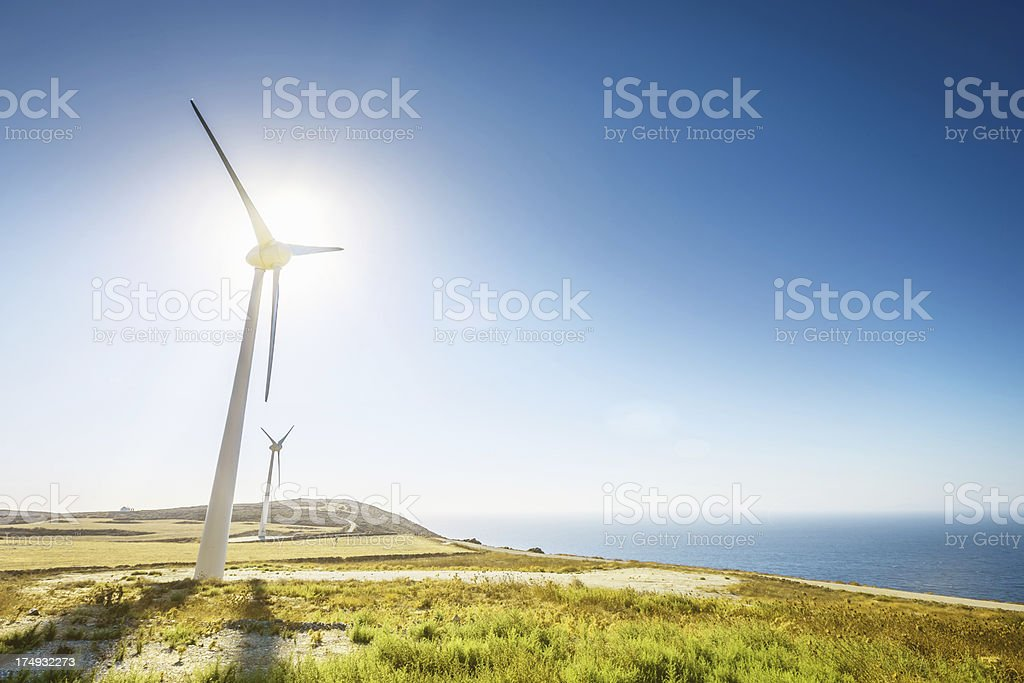 Alternative Energy Solar, Wind and Water Power stock photo