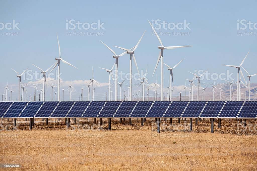 Alternative Energy Wind Mills and Solar stock photo