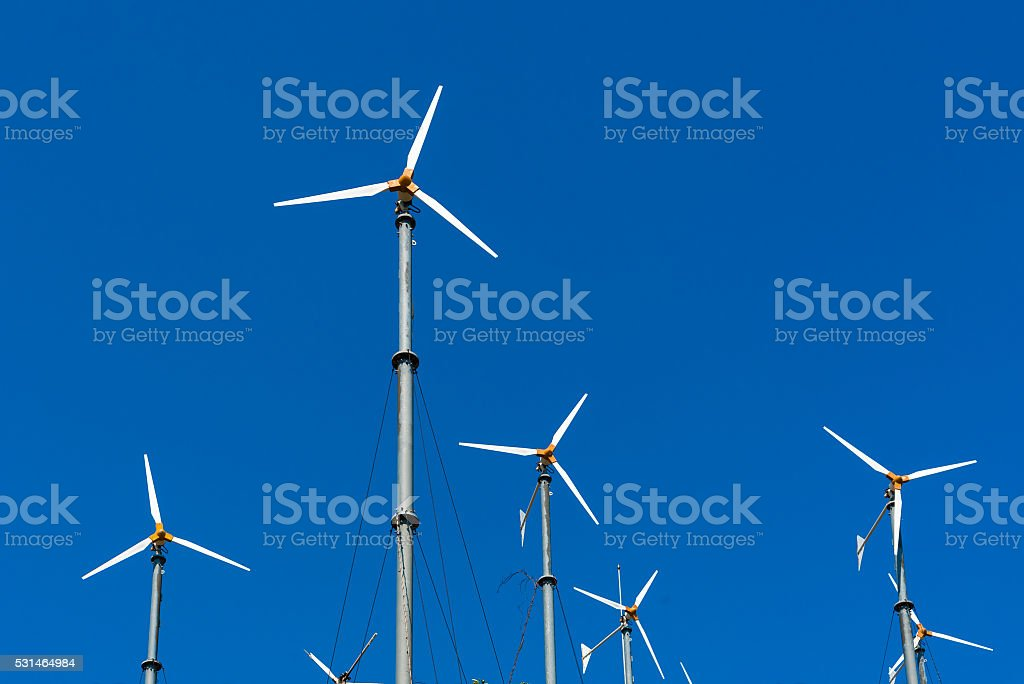 Alternative energy, Wind turbine farm for electric power production stock photo