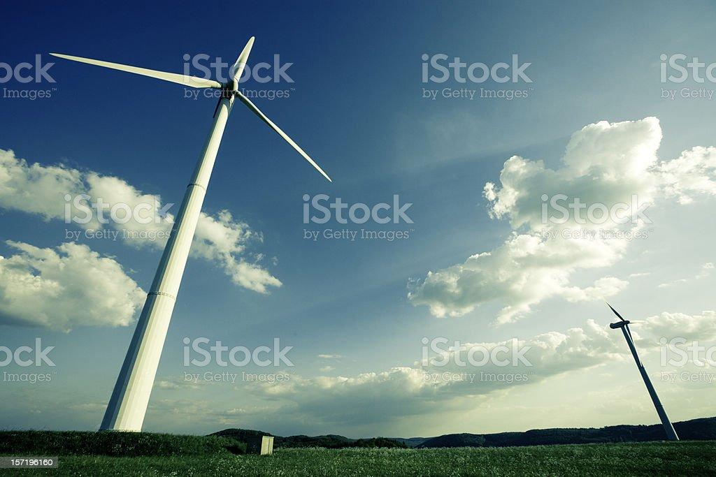 Alternative Energy Wind Turbines (Cross Processed) royalty-free stock photo