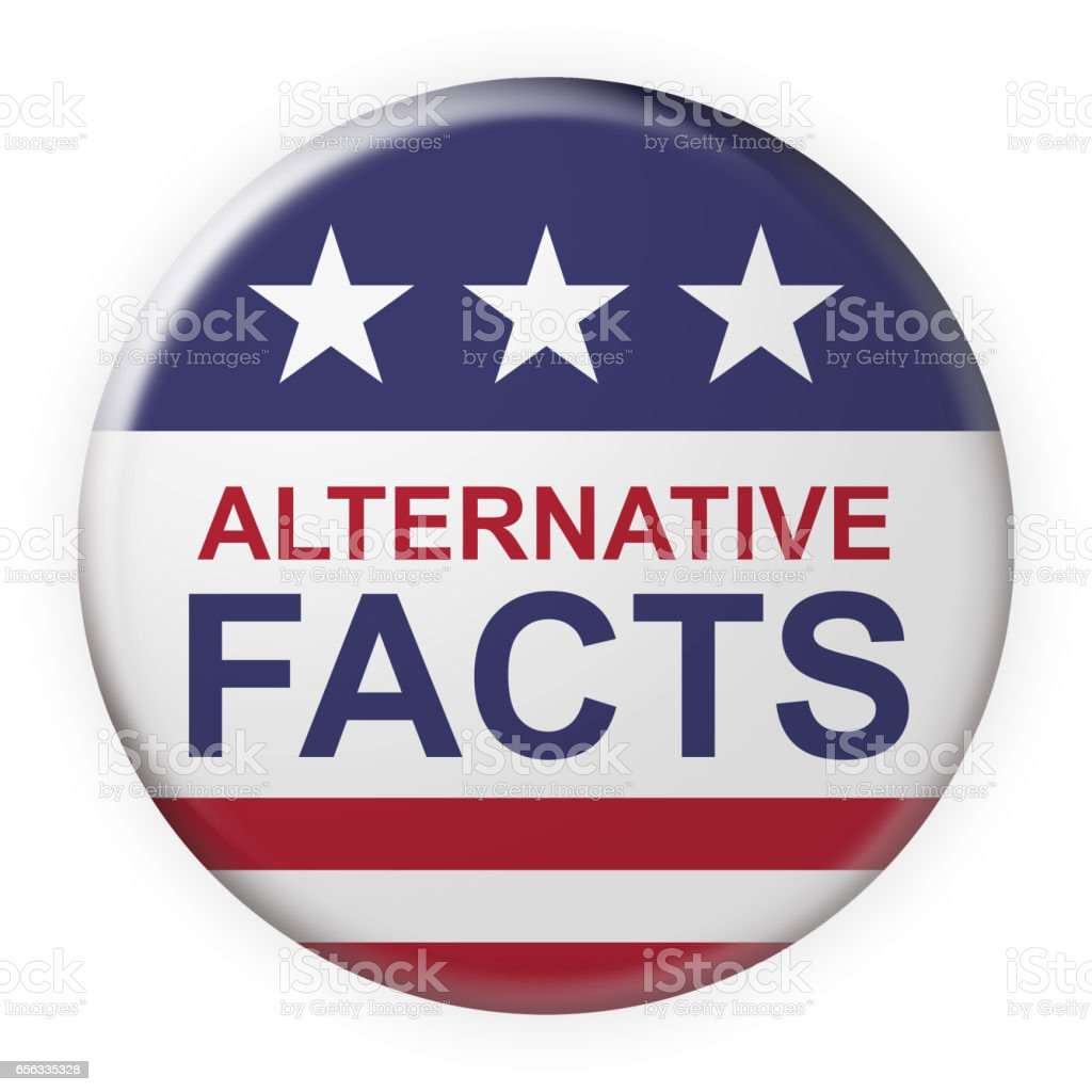 Alternative Facts Button With US Flag, 3d illustration on white vector art illustration
