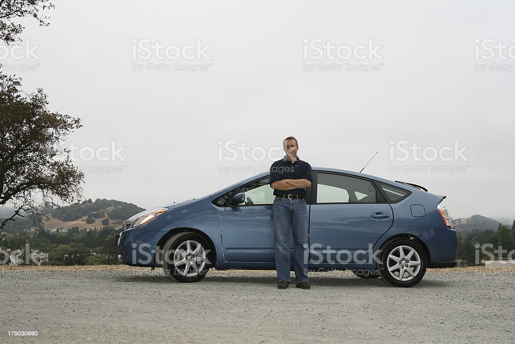 Alternative fuel car with owner stock photo