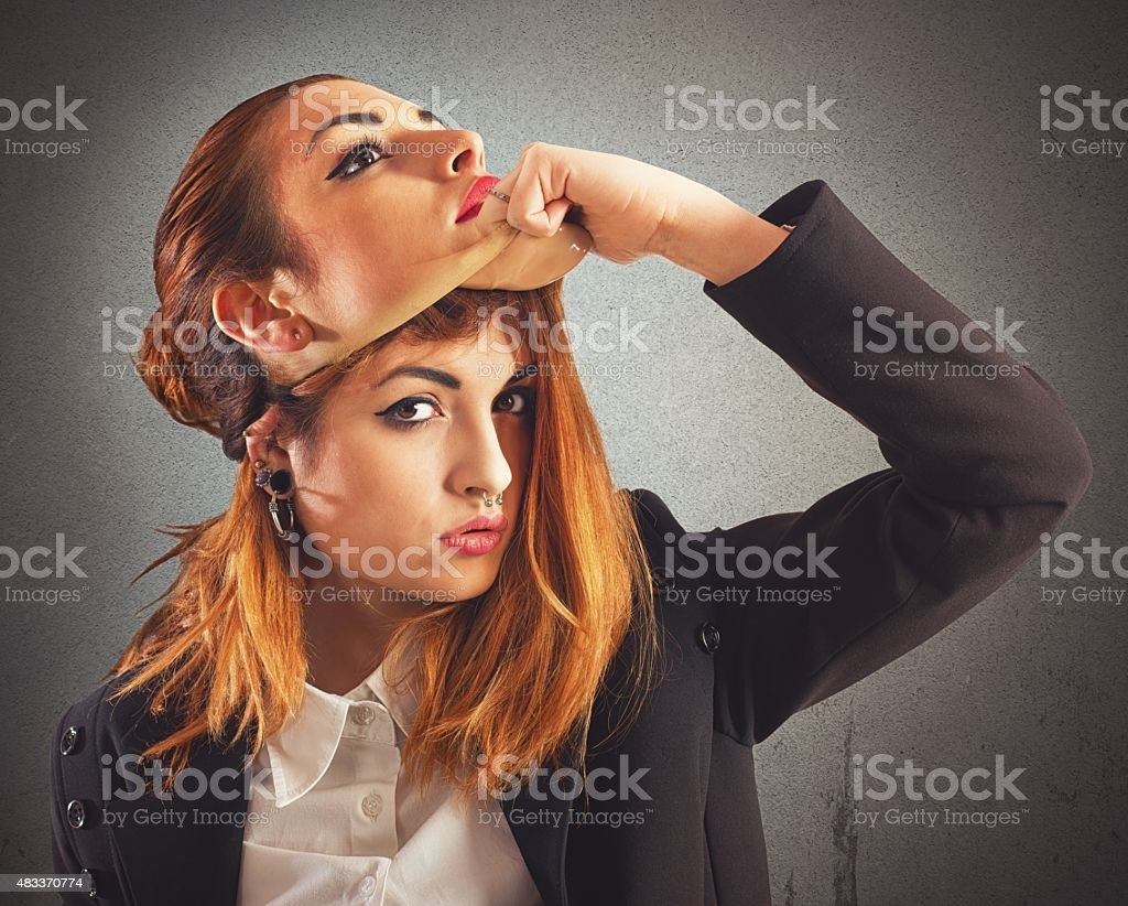 Alternative girl vs good woman stock photo