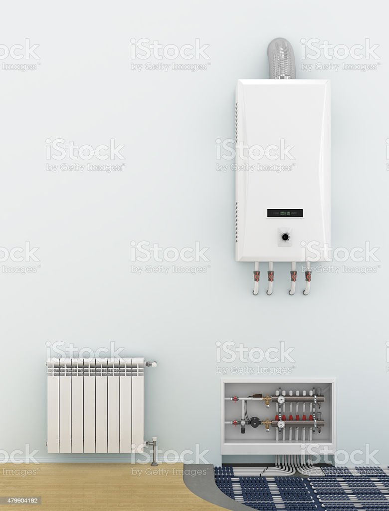 Alternative heating underfloor. stock photo