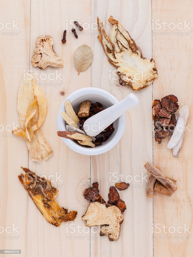 Alternative Medicinal , Chinese herbal medicine  for healthy rec stock photo