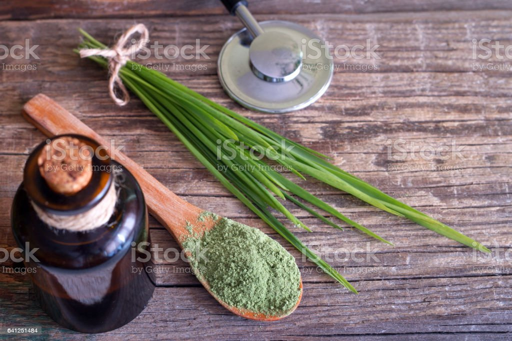 Alternative medicine concept with diet supplements stock photo
