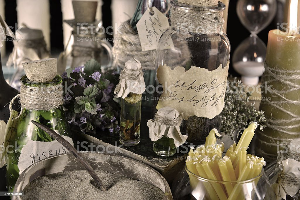 Alternative medicine or homeopathic theme filtered and desaturated stock photo