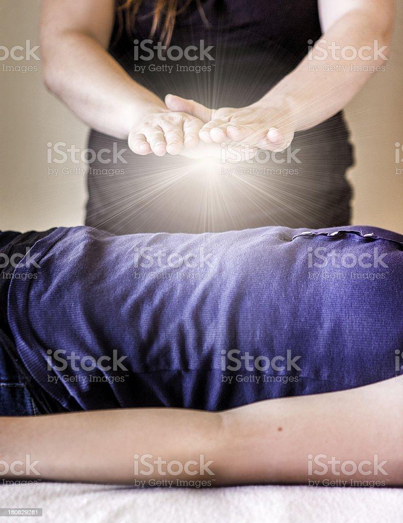 Alternative Medicine: Reiki Energy Healing stock photo