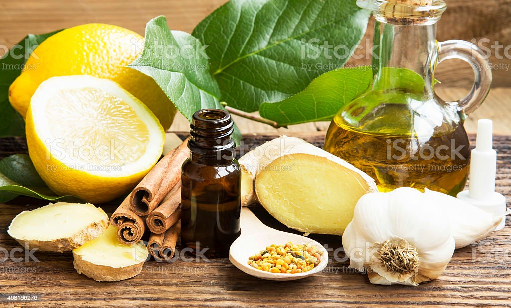 Alternative natural medicine made from spices and oils stock photo
