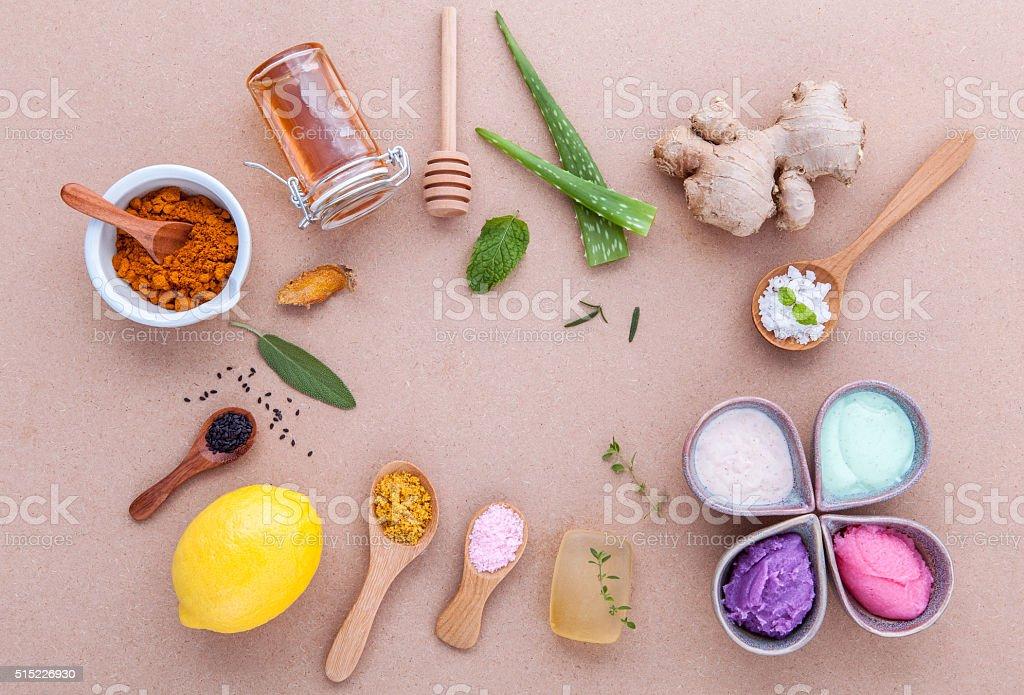 Alternative skin care and homemade scrubs . stock photo