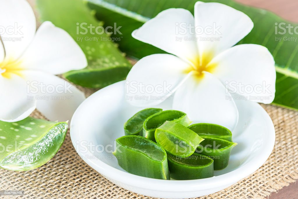 Alternative skin care and spa with aloe vera stock photo