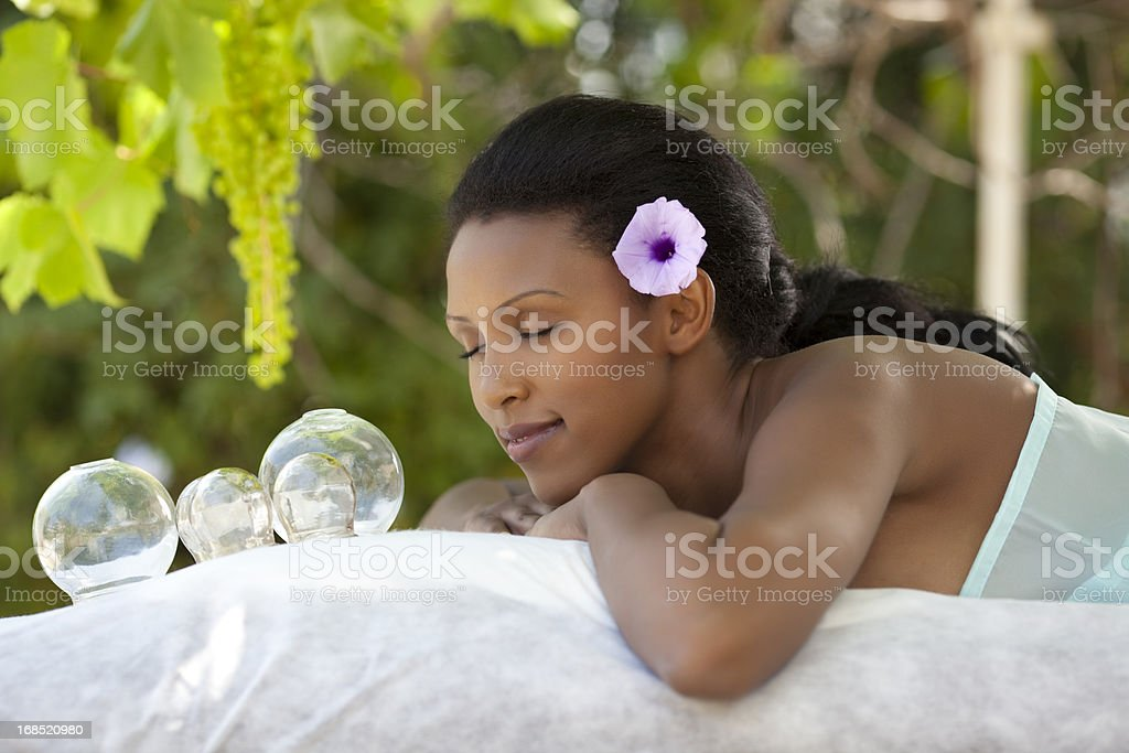 Alternative therapy by vacuum cupping. royalty-free stock photo