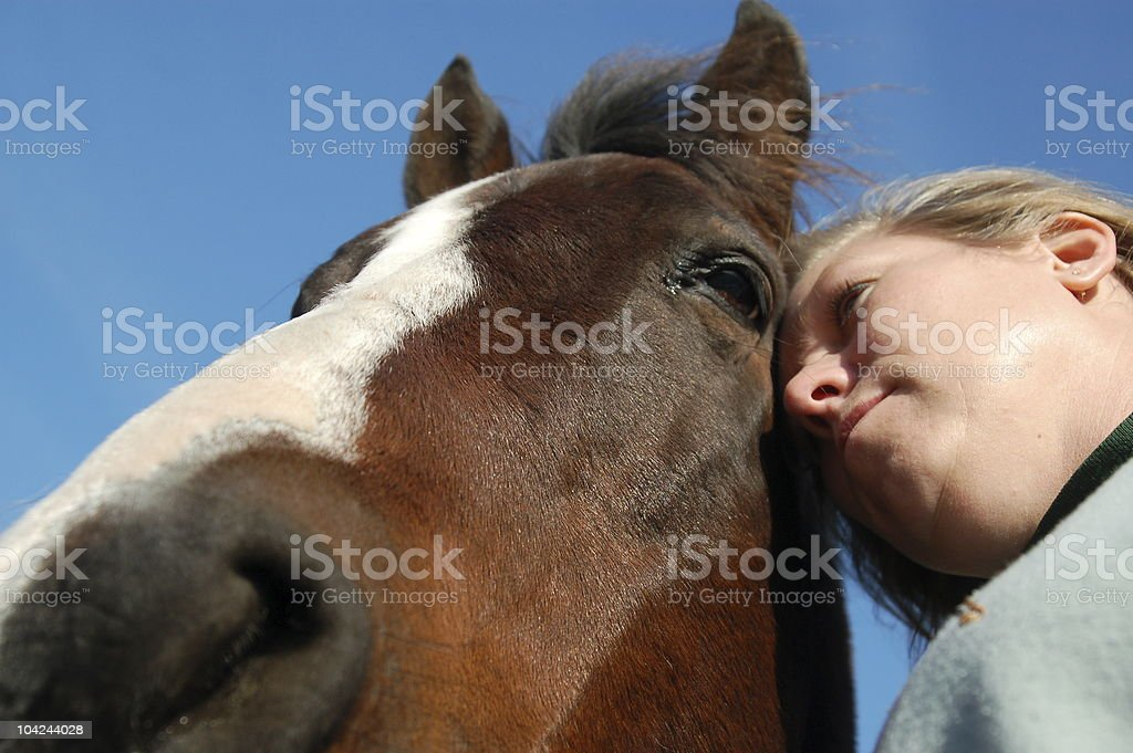 Alternative Therapy Horse and Owner stock photo