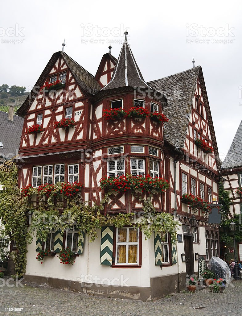 Altes Haus (Old House), from 1368 in Bacharach, Germany stock photo