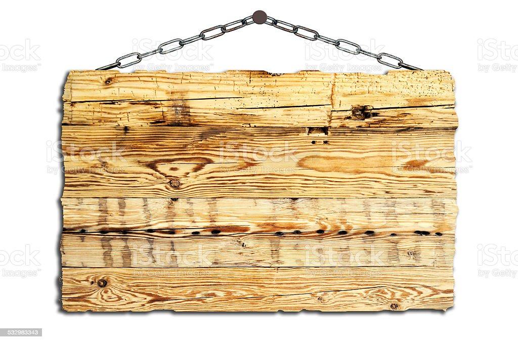 altes Holzschilder an Ketten stock photo