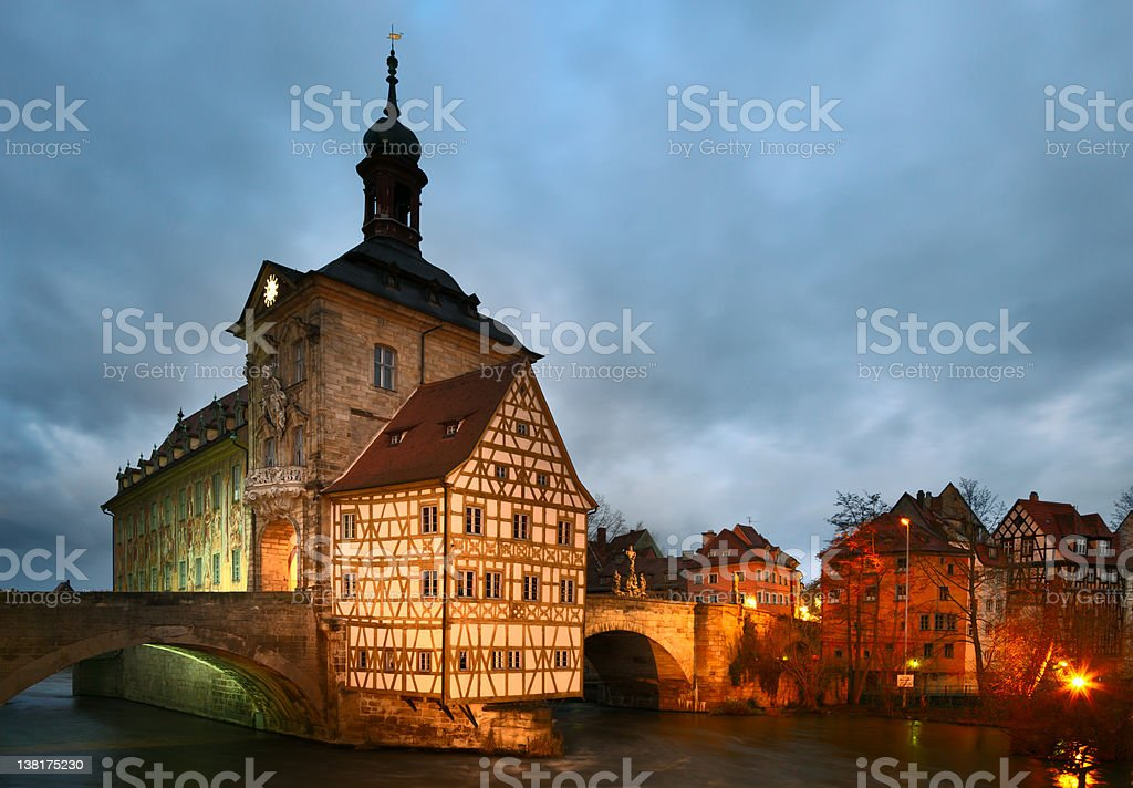 Altes Rathaus (The Old Town Hall) in dusk. Bamberg, Bavaria. stock photo