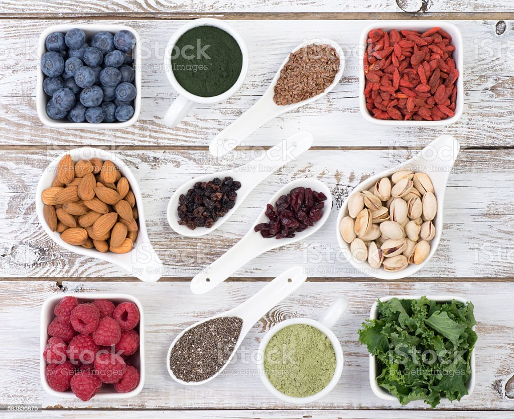 althy food called super foods stock photo
