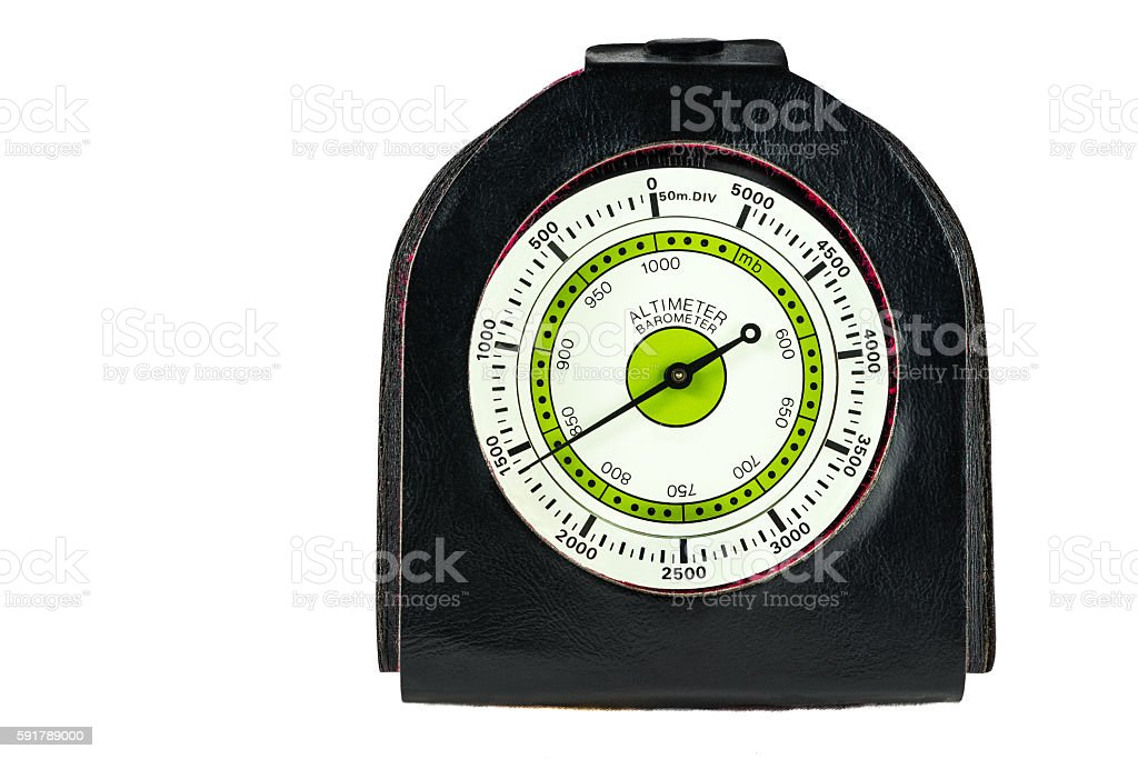 Altimeter and barometer for hiking on white background stock photo