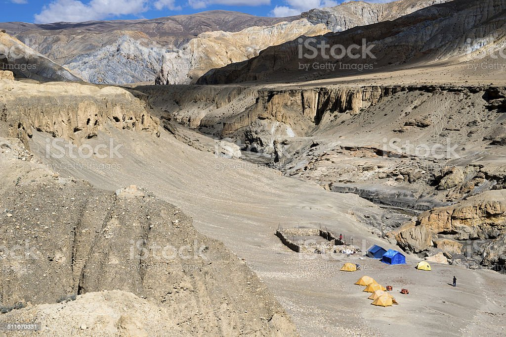Altitude camp and desert in Mustang stock photo