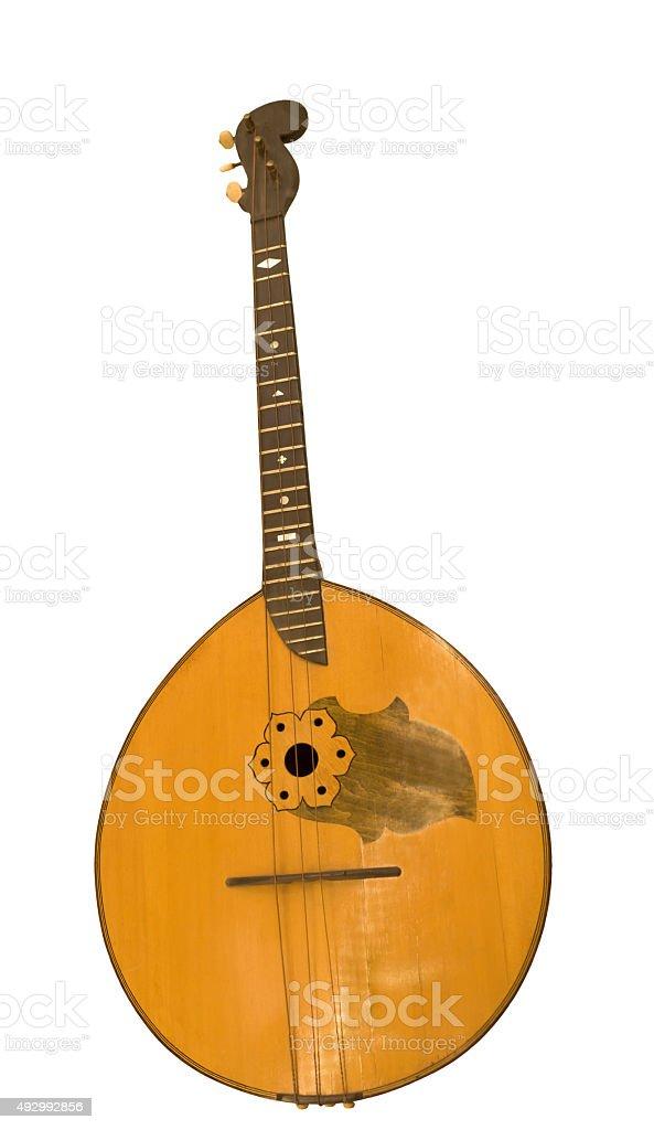 Alto domra. String plucked musical instrument. Novgorod Province stock photo