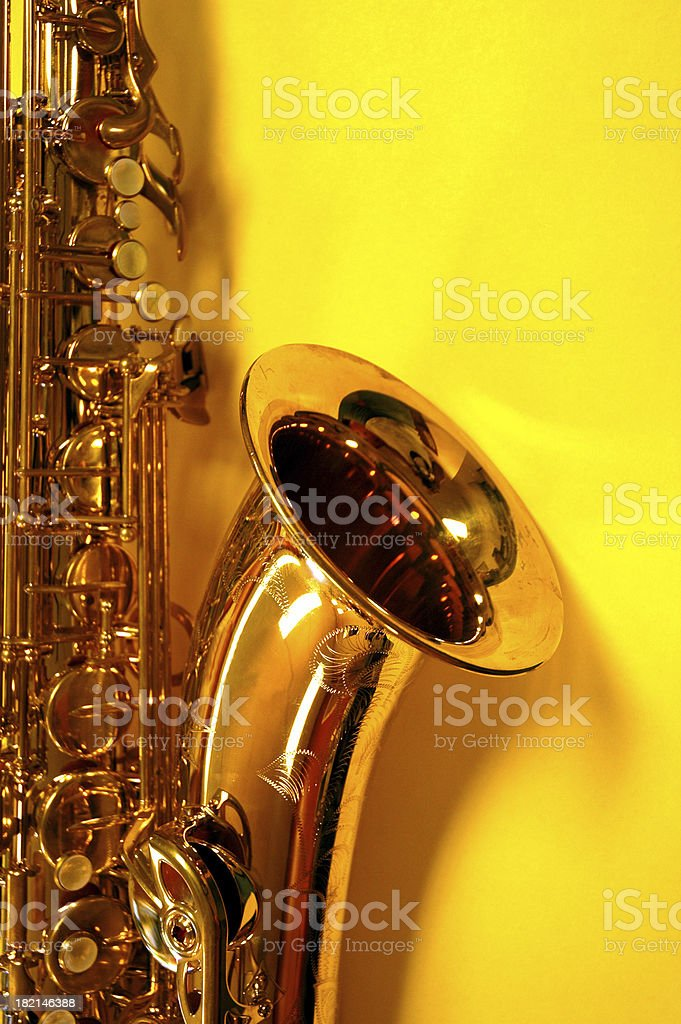 Alto Sax on Yellow royalty-free stock photo