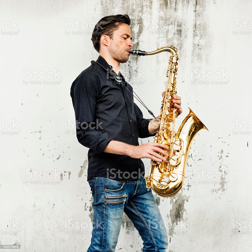 Alto Saxophone Artist Classical Jazz Musician Sax Concept stock photo
