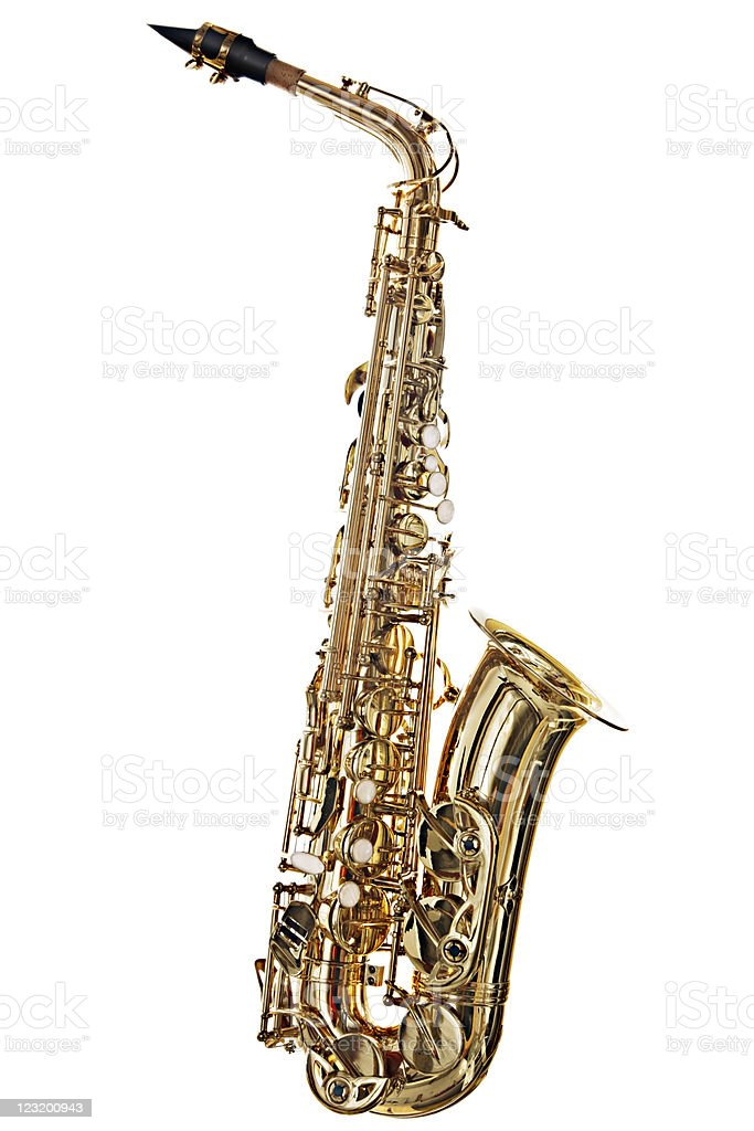 Alto saxophone, brightly lit, is isolated on white stock photo