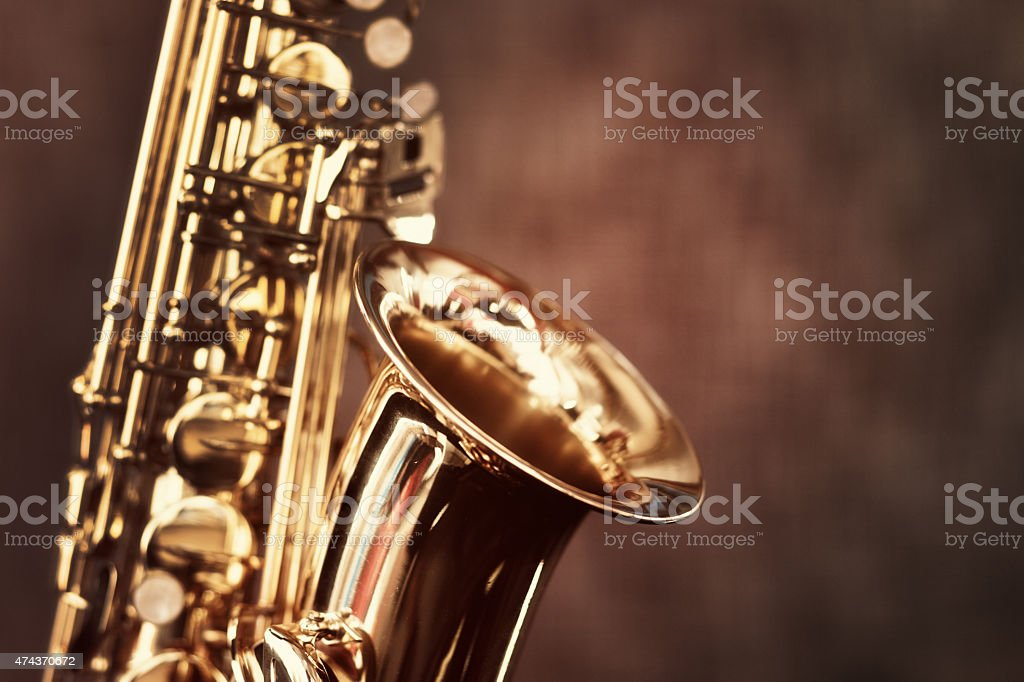 Alto saxophone, cropped, with copy space stock photo