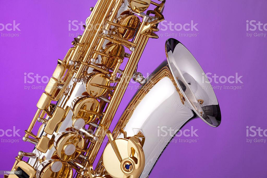 Alto Saxophone Isolated On Pink royalty-free stock photo