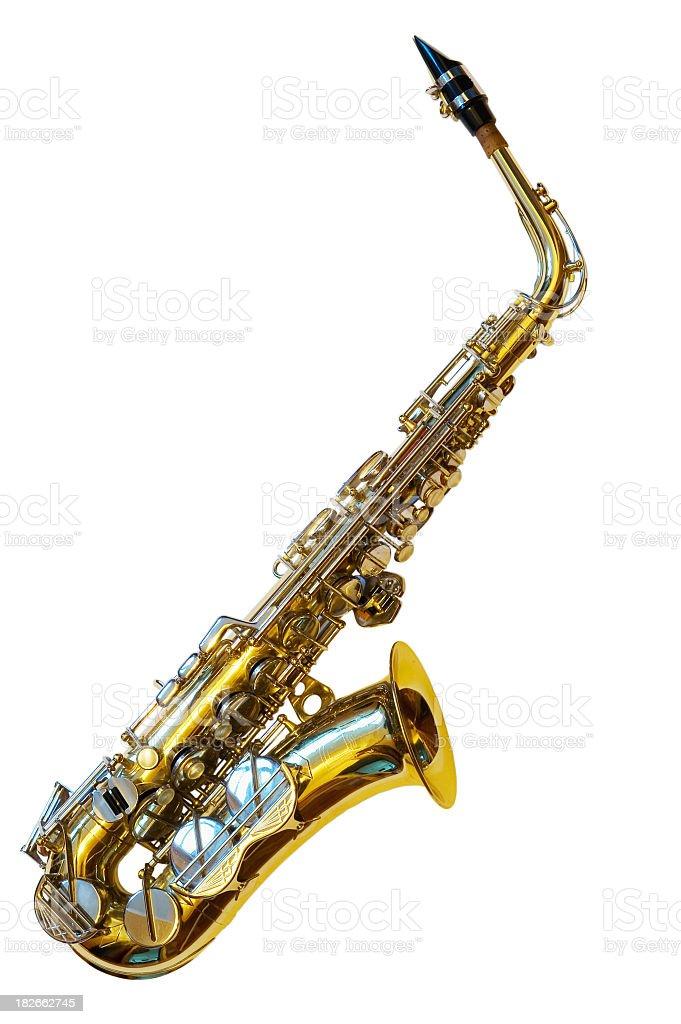 Alto saxophone on white background stock photo