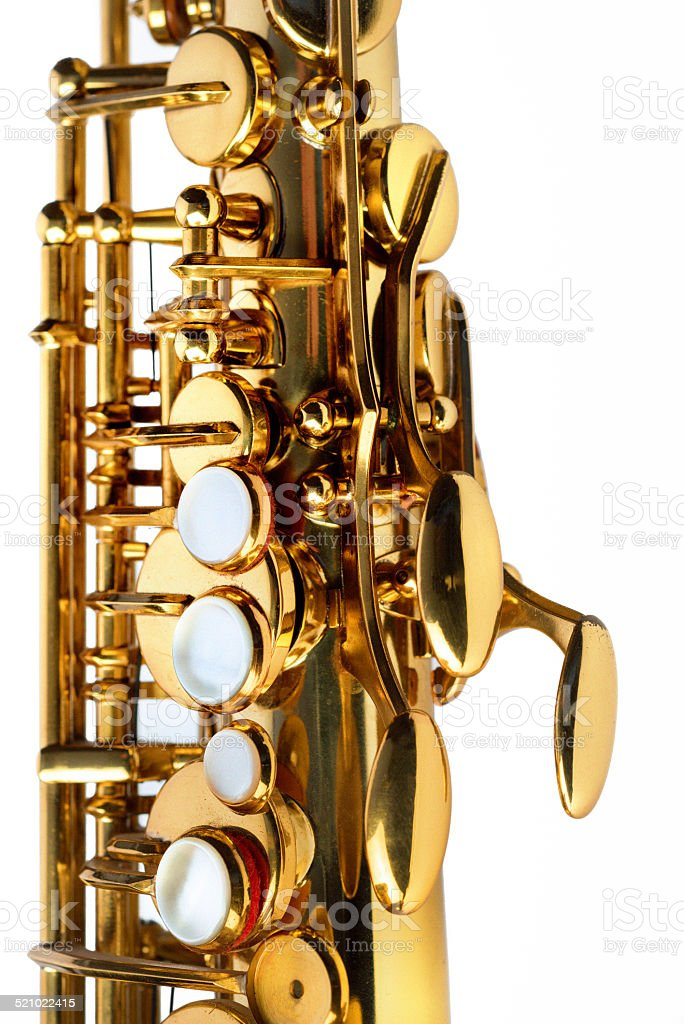 Alto saxophone, side view, close up on white background stock photo
