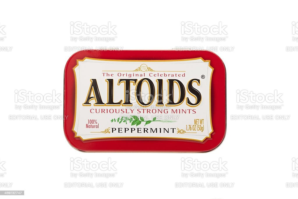 Altoids Container shot in studio on a white background stock photo