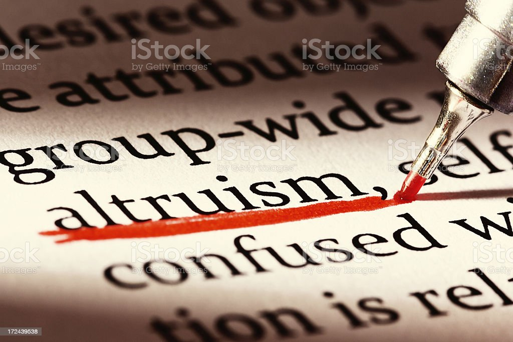 Altruism is heavily emphasized in business document royalty-free stock photo