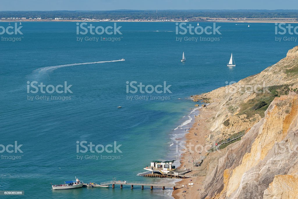 Alum bay coastline on the Isle of Wight stock photo