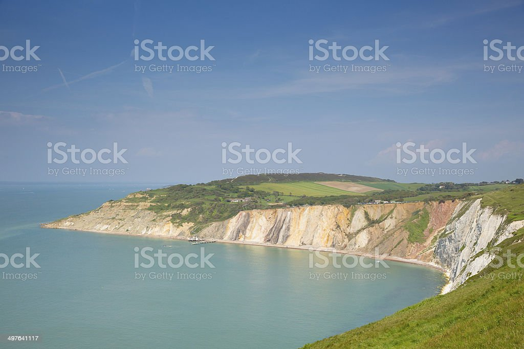 Alum Bay Isle of Wight by the Needles stock photo
