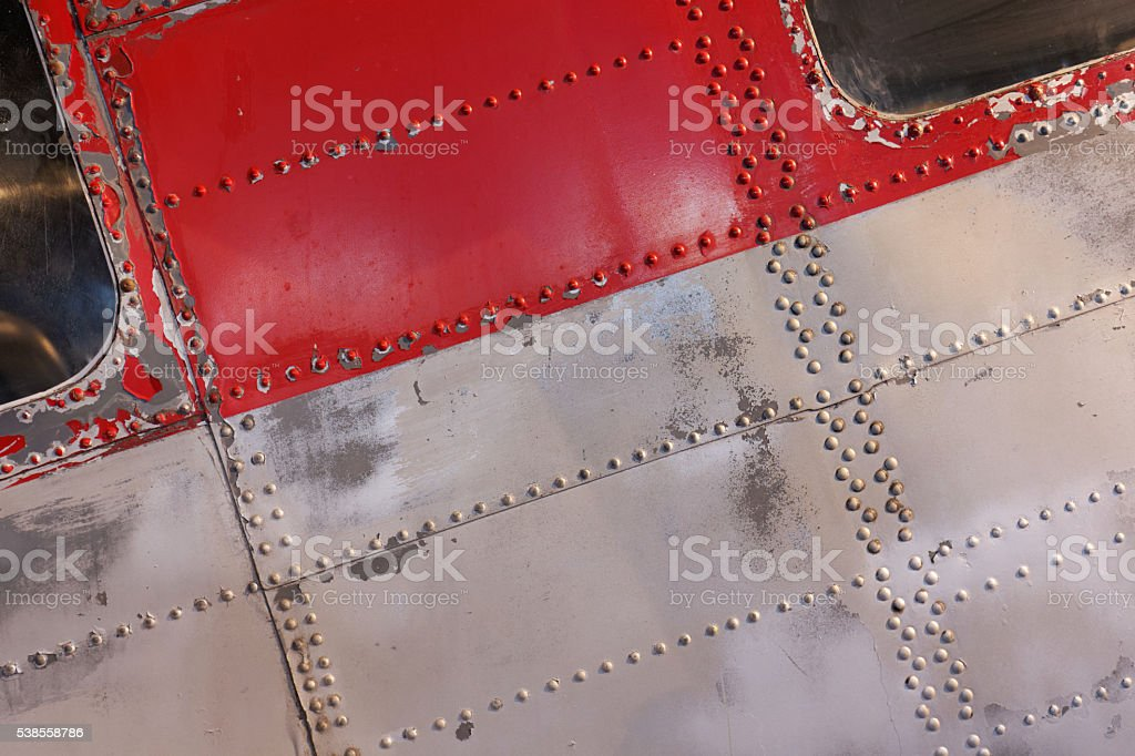 Aluminium aircraft fuselage detail stock photo