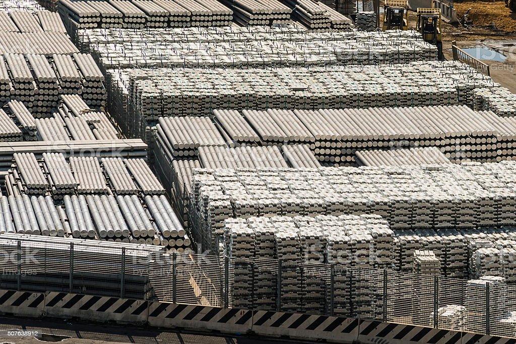 aluminium bars in port stock photo