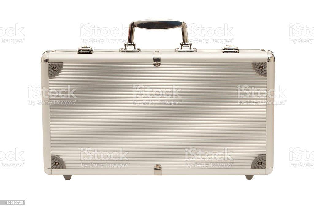 Aluminium briefcase isolated on white stock photo