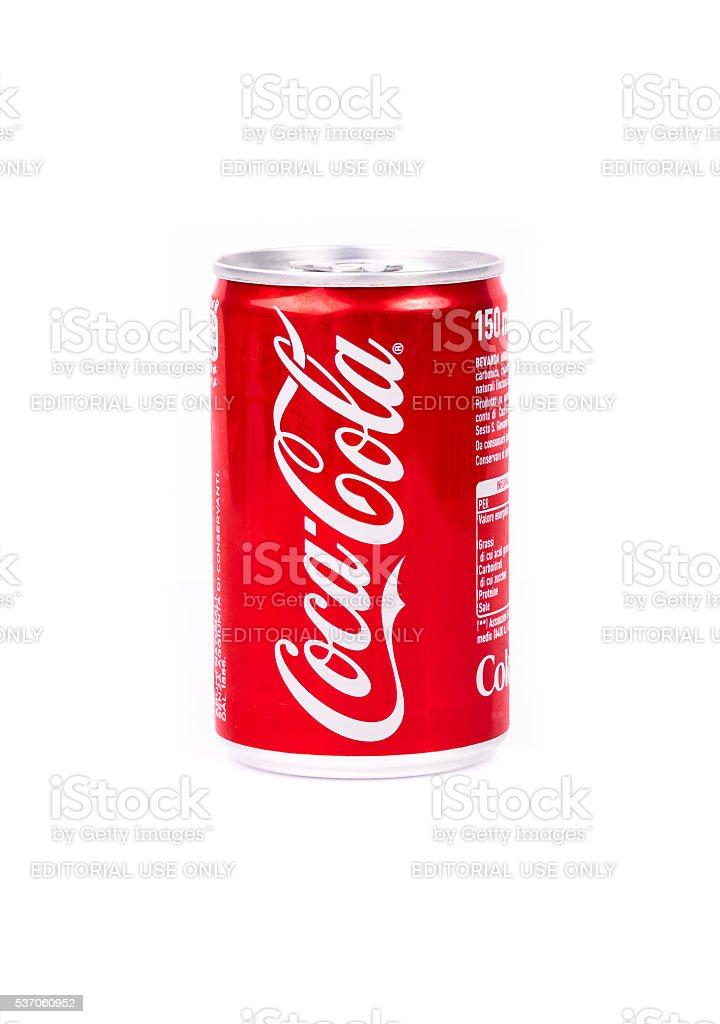 Aluminium can of Coca-Cola stock photo